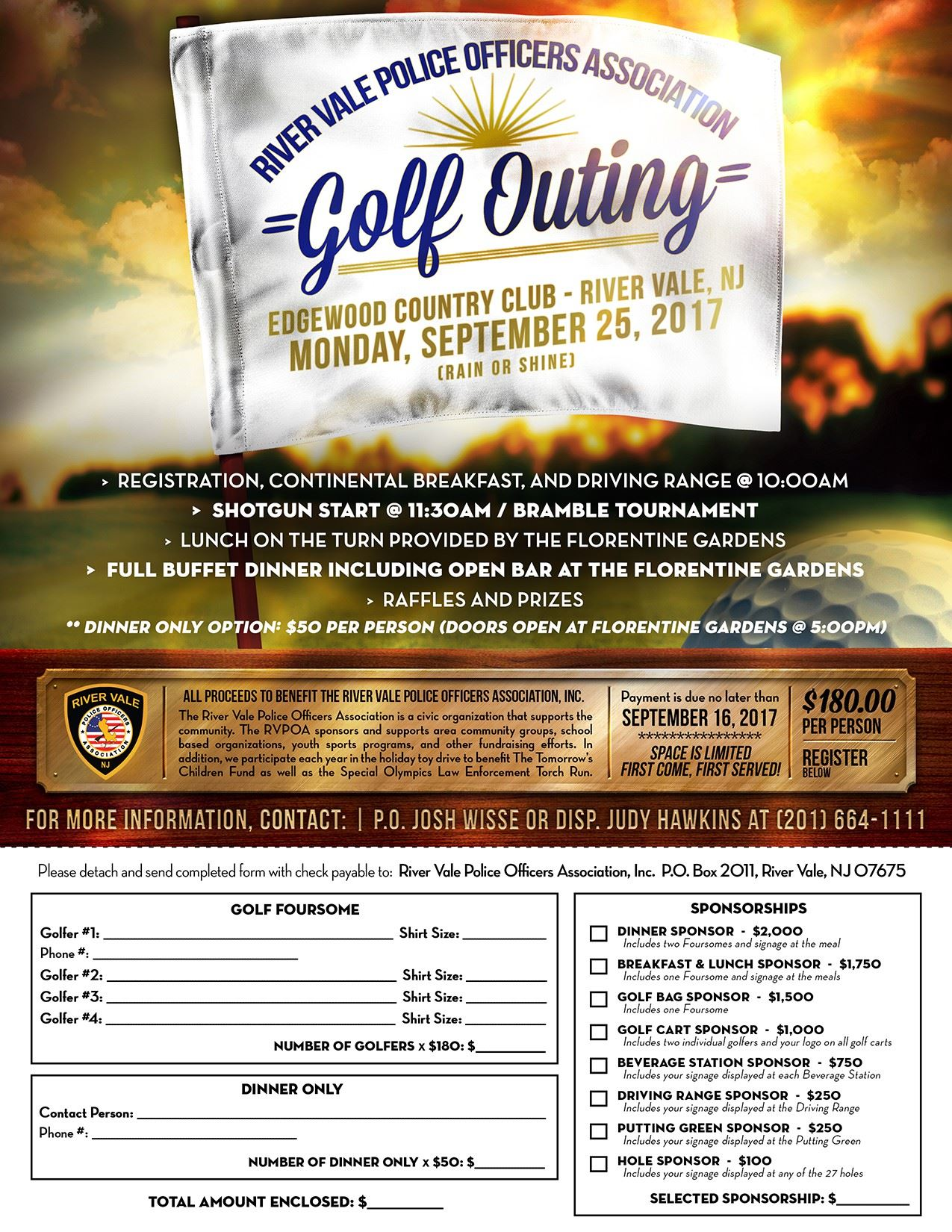 River Vale Police 2017 Golf Outing Flyer